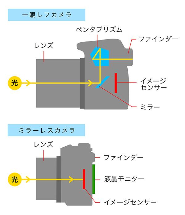 ミラーレスと一眼レフの違い図