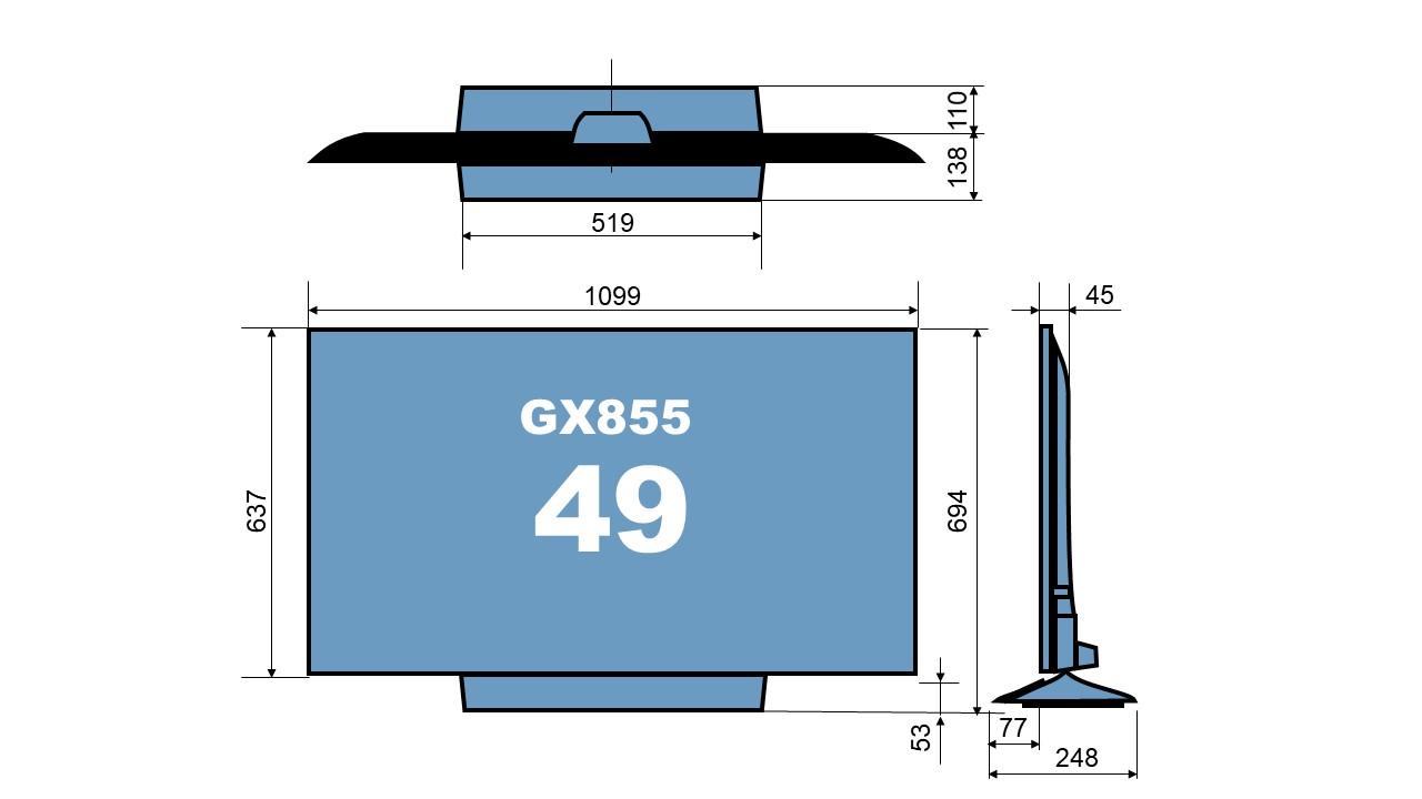 size TH-49GX855