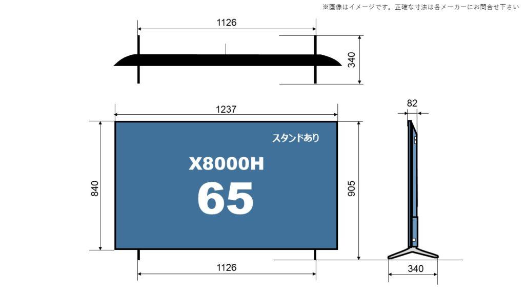 65X8000H size