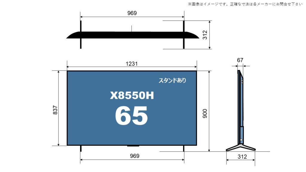 X8550Hの65型に関するサイズ詳細を解説した自作画像。 size