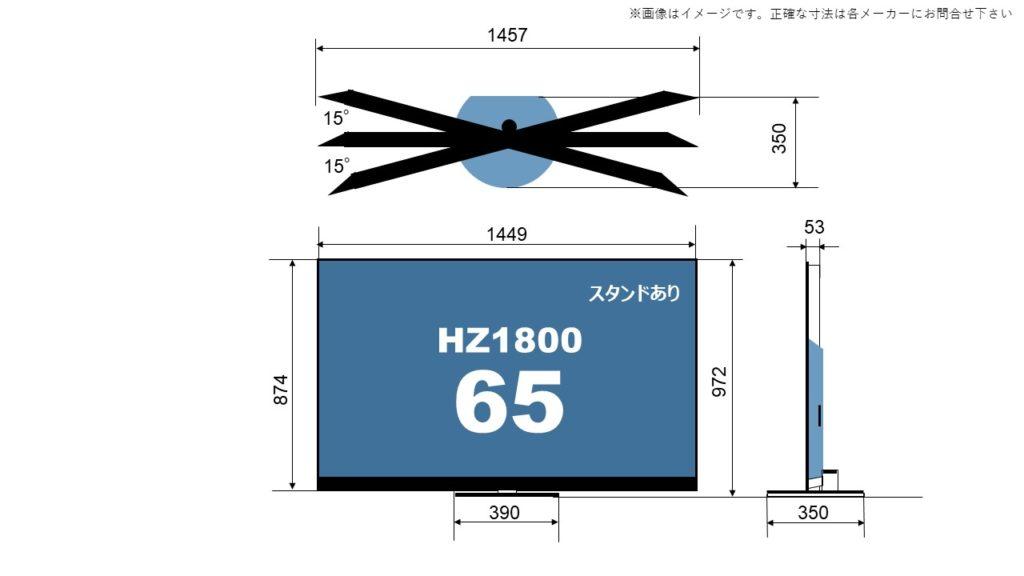 HZ1800の65型に関するサイズ詳細を解説した自作画像。