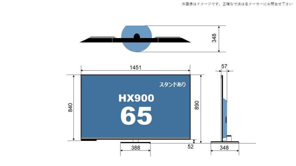 パナソニック4K液晶ビエラ HX900の65型(インチ)に関するサイズ詳細を解説したオリジナル画像