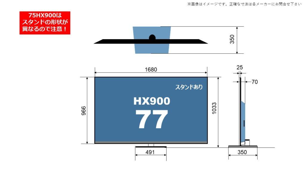 パナソニック4K液晶ビエラ HX900の77型(インチ)に関するサイズ詳細を解説したオリジナル画像